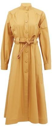 Fendi Gathered Cotton-poplin Shirt Dress - Womens - Beige