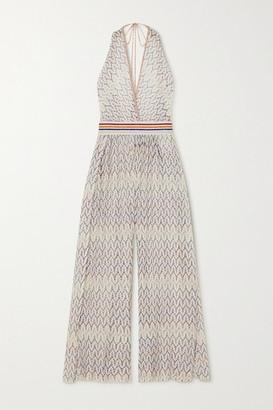 Missoni Mare Metallic Crochet-knit Jumpsuit - White
