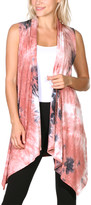 Brooke & Emma Women's Sweater Vests DT37 - Coral Tie-Dye Drape-Front Open Vest - Women