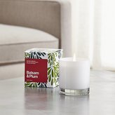 Crate & Barrel Balsam & Plum White Glass Candle