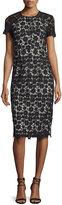 Shoshanna Short-Sleeve Lace Midi Sheath Dress, Black/Ivory