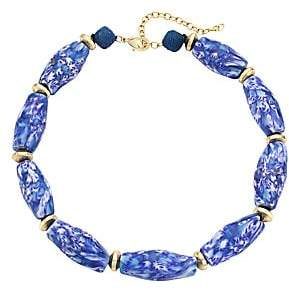 Akola Women's Marbled Glass & Raffia Statement Choker Necklace