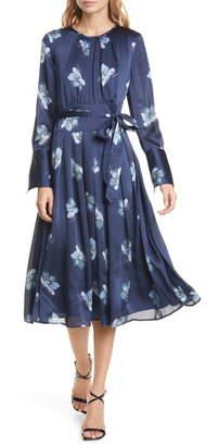 Club Monaco Floral Belted Long Sleeve Midi Dress