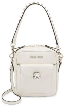 Miu Miu Rhinestone-Embellished Leather Crossbody Bag