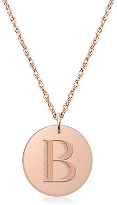 Jane Basch 14K Rose Gold Engraved Initial Disc Necklace (A-Z)