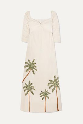 Agua Bendita Agua By Agua by America Ruched Embroidered Linen Maxi Dress - Cream