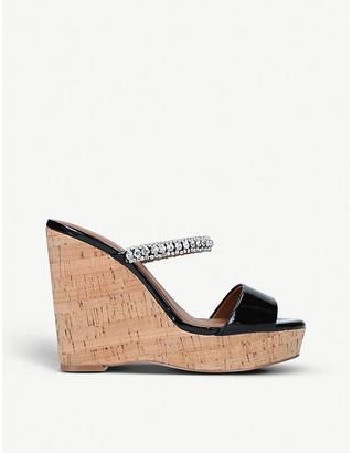 Kurt Geiger Alexia embellished cork wedge sandals