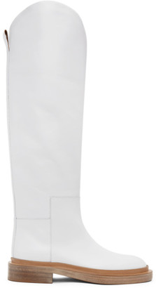 Jil Sander White Cavaliere Boots