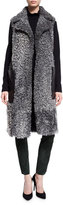 Escada Shearling Leather-Pocket Sleeveless Coat, Flannel