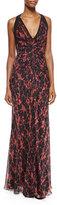 J. Mendel Ikat-Print Ruched Chiffon Gown