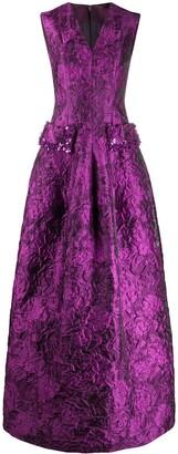Talbot Runhof Jacquard Evening Dress