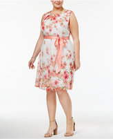 Connected Plus Size Belted Floral-Print Dress