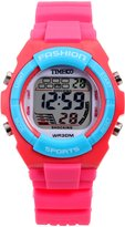 Time100 Kid's Digital Timing Multifunctional Alarm Boys Girls Sport Electronic Watches (Candy Red)
