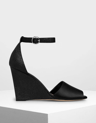 Charles & KeithCharles & Keith Glitter Peep Toe Wedges