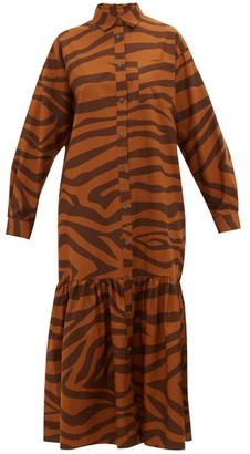 Mara Hoffman Freda Tiger-print Ruffle-hem Cotton Maxi Dress - Brown Print
