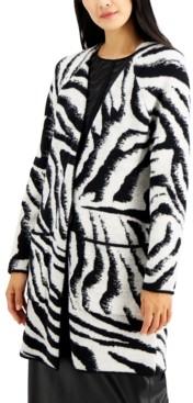 Alfani Zebra Open Front Cardigan, Created for Macy's
