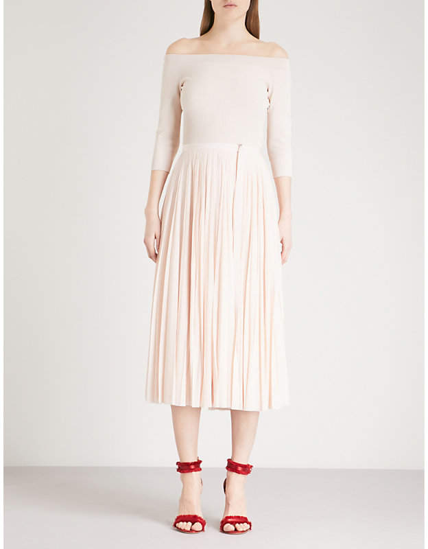 Alexander McQueen Off-the-shoulder knitted and woven dress