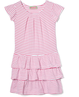 SAM. Sophie & Girls' Casual Dresses Red - Pink Stripe Jersey Tiered Ruffle A-Line Dress - Toddler & Girls