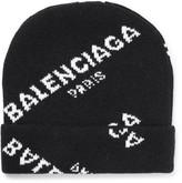 Balenciaga Intarsia Wool-blend Beanie - Black
