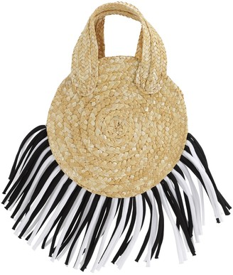Mi Mi Sol Straw Handbag W/fringes
