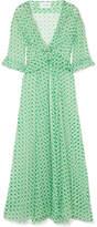 we are LEONE - Ruby Ruffled Printed Silk-chiffon Robe - Green