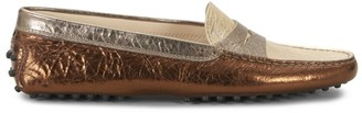 Tod's Gommini Metallic Leather Driving Loafers