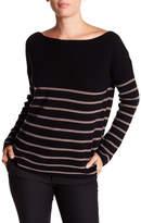 Michael Stars Wool Blend Boatneck Striped Sweater