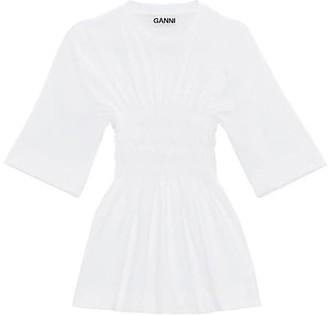 Ganni Shirred Cotton Tunic