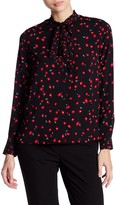 French Connection Poppy Tie Neck Blouse