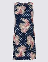 Marks and Spencer PETITE Linen Blend Floral Print Tunic Dress