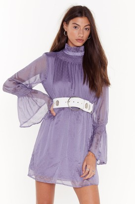 Nasty Gal Womens Sheer's to Us Polka Dot Mini Dress - purple - 4