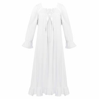 JEATHA Kids Girls Night Dress Long Sleeve Lace Neckline Ruffles Princess Nigthie Sleepwear Pajamas Homewear Coral Pink 5-6
