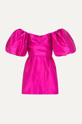 Rasario Off-the-shoulder Silk-shantung Mini Dress - Fuchsia