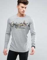 Jack and Jones Long Sleeve T-Shirt with Camo Arm Logo