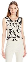 Nine West Women's Printed Amber Pleat Neck Cami