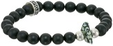 King Baby Studio 8mm Onyx Bead Bracelet with Natural Top Hat Spotted Turquoise Bracelet