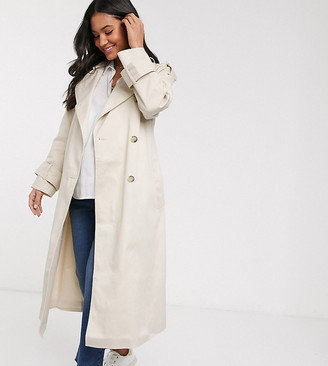 Asos DESIGN Maternity longline trench coat in stone