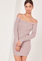 Missguided Pink Long Sleeve Bardot Sweater Dress