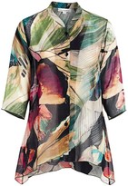 Caroline Rose Caroline Rose, Plus Size Autumn Hues Printed Georgette Blouse