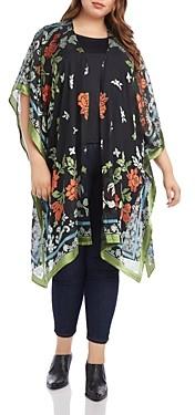 Karen Kane Plus Floral-Burnout Kimono