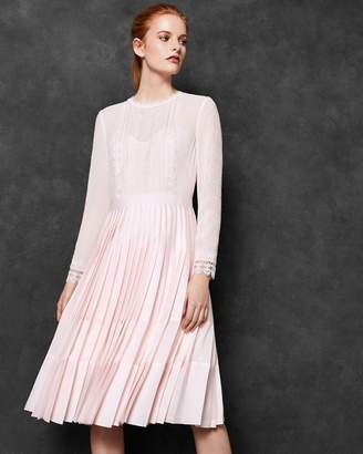 Ted Baker Lace Trim Pleated Midi Dress