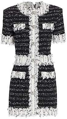 Balmain Women's Tweed Fringe Long-Sleeve Mini Dress