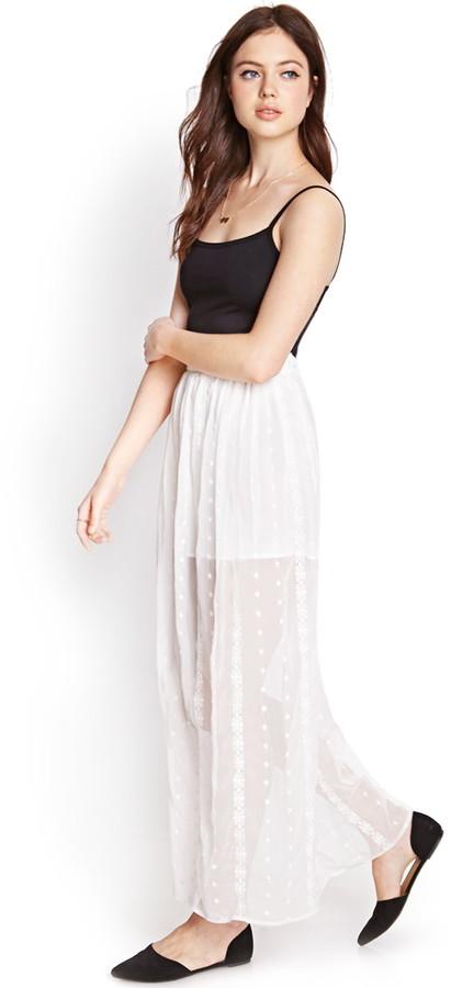 Forever 21 Embroidered Maxi Skirt