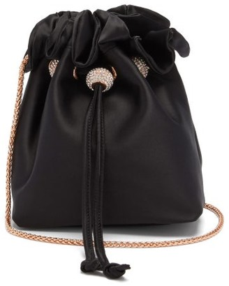 Sophia Webster Emmie Ruffled-trim Satin Bucket Bag - Black