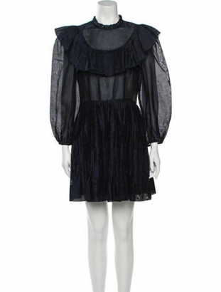 Ulla Johnson Mock Neck Mini Dress Blue