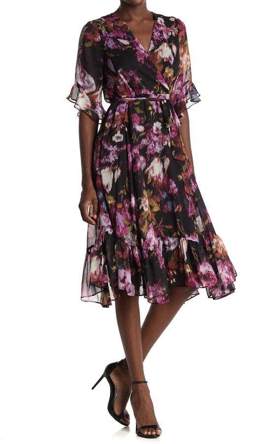 Gabby Skye Floral Ruffled Chiffon Faux Wrap Midi Dress