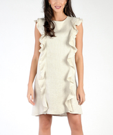 Beige Ruffle-Accent Sleeveless Dress