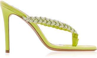 Alexandre Vauthier Jojo Embellished Suede Thong Sandals