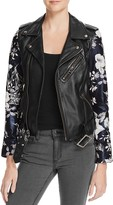Linea Pelle Floral-Sleeve Leather Moto Jacket - 100% Bloomingdale's Exclusive