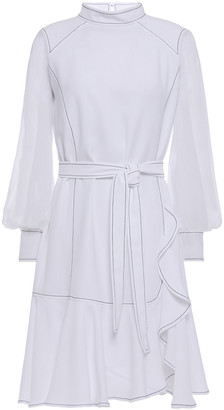 Carolina Herrera Belted Chiffon-paneled Crepe Mini Dress